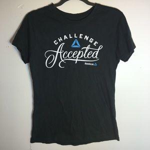 """Reebok Tops - ⭐️Women's Reebok """"Challenge Accepted"""" T-Shirt"""